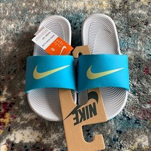 NIKE Kawa Blue Sandals Slides Sz 8 NEW